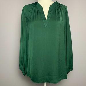 Zara Basic Emerald Green Silk Blouse